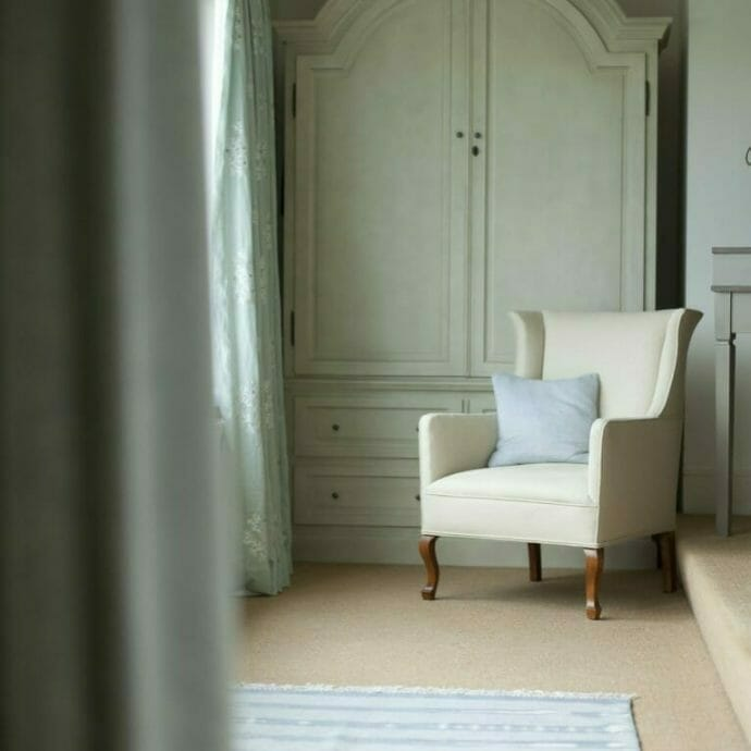 Bespoke Chair Upholstered in Cream Fabric
