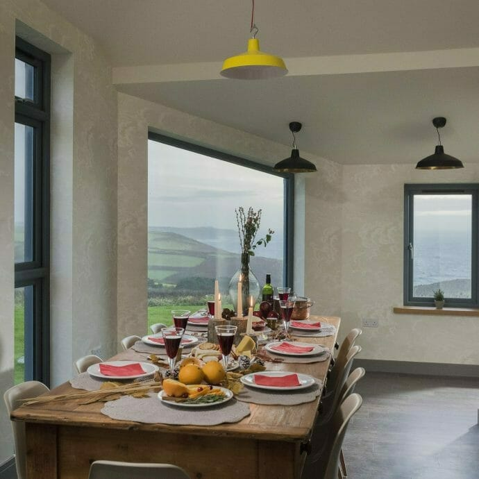 Farmhouse Dining Table overlooking the sea