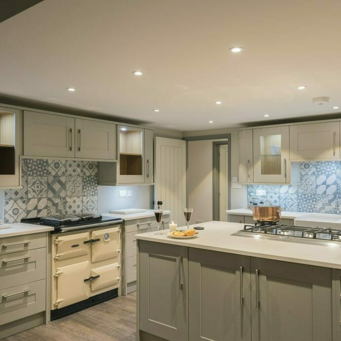 Hops and Camellias Coastal Farmhouse Kitchen with patterned tiles