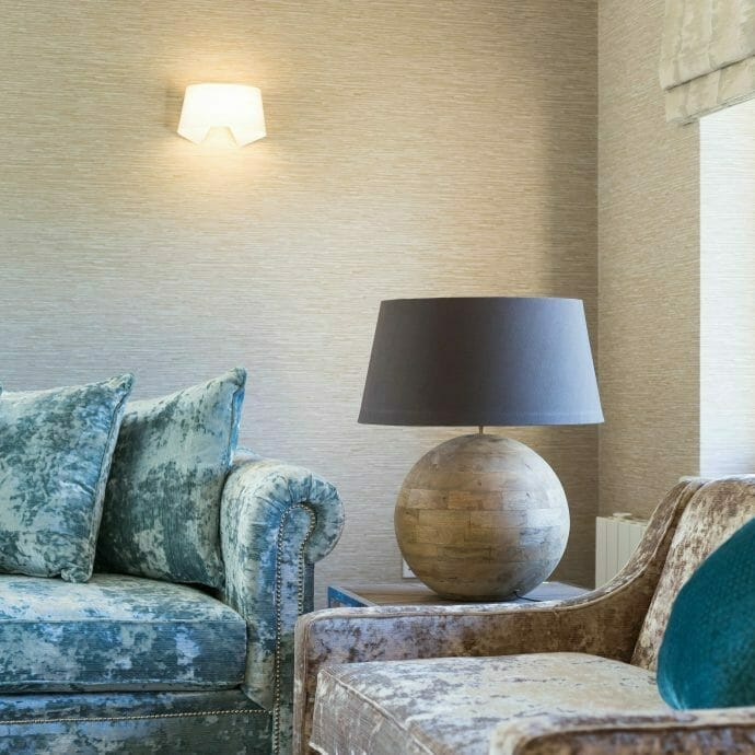 Blue and Taupe Velvet Sofas by Hops and Camellias with Jane Churchill Wallpaper in Polzeath