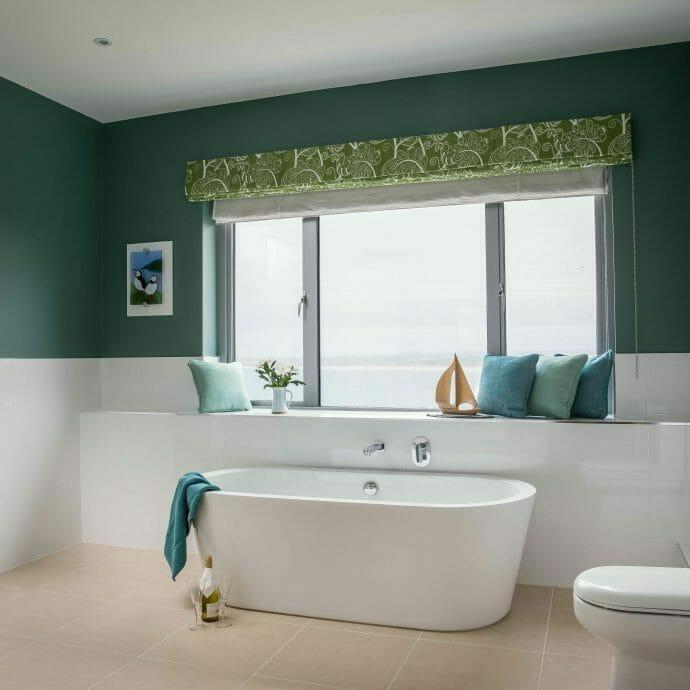 Little Greene Pleat for St Ives Bathroom Interior Design in St Ives