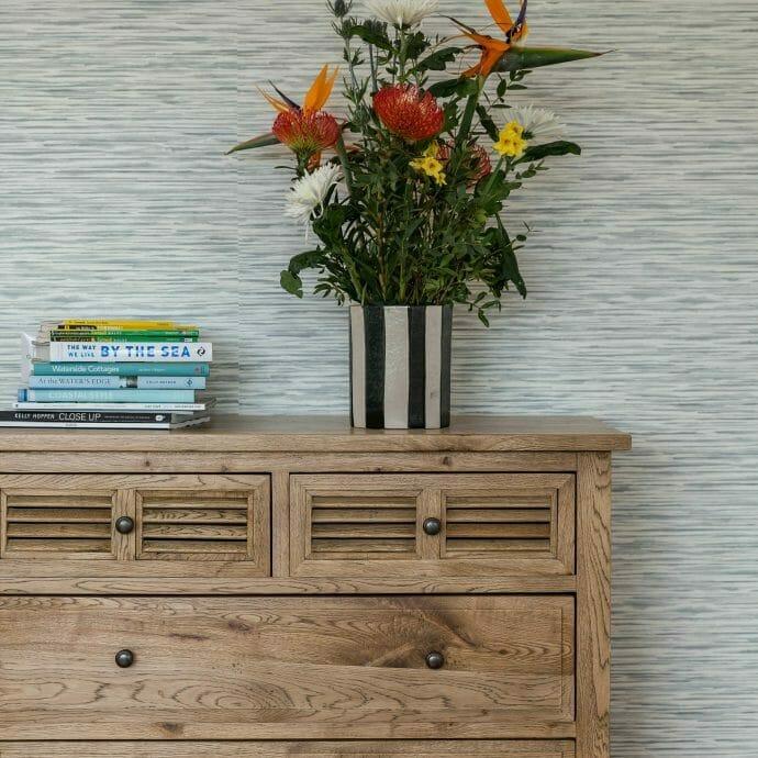 Oak Chest of Drawers against Sanderson Wallpaper St Ives