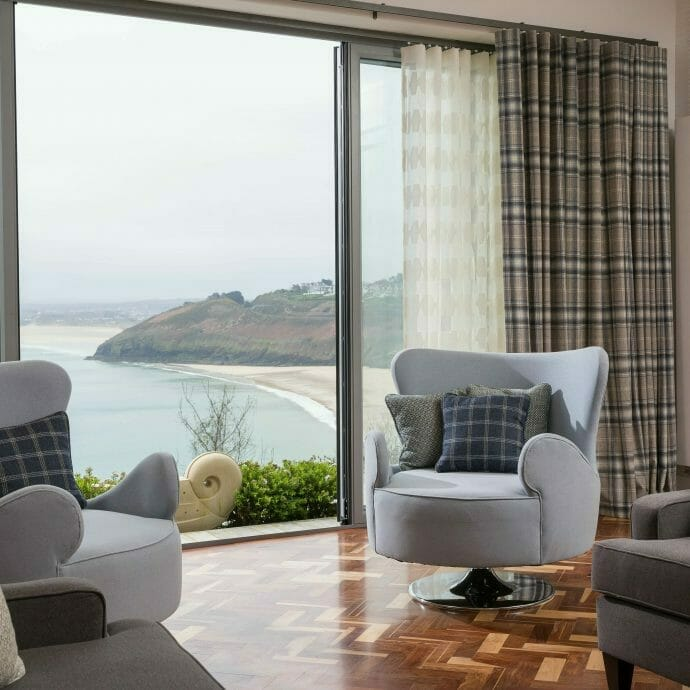 Made to Measure Wave curtains in St Ives overlooking Carbis Bay