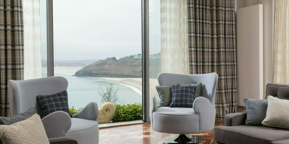 Made to Measure Wave curtains in St Ives overlooking Carbis Bay. Interior Design in St Ives