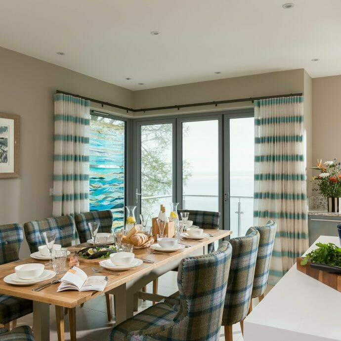 Coastal Sea View Kitchen in St Ives with Harlequin Made to Measure Curtains