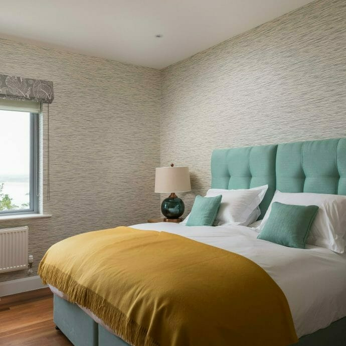 Turquoise Brunschwig and Fils Bespoke Headboard in St Ives Home