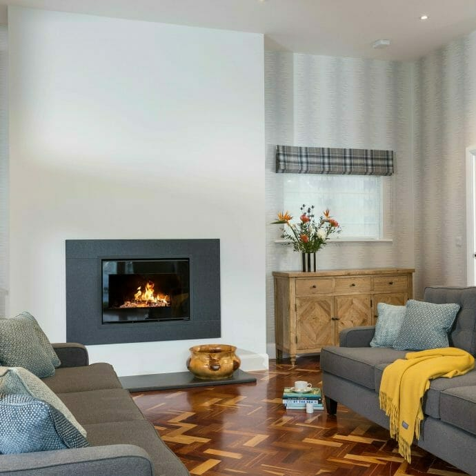 St Ives Open plan living area with Bespoke grey sofas