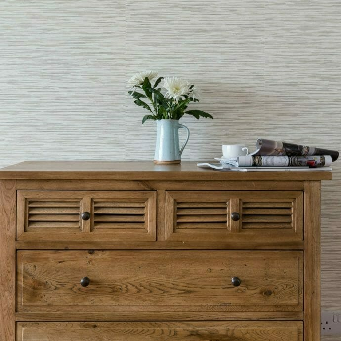 Oak Chest of Drawers with Sanderson Wallpaper in St Ives