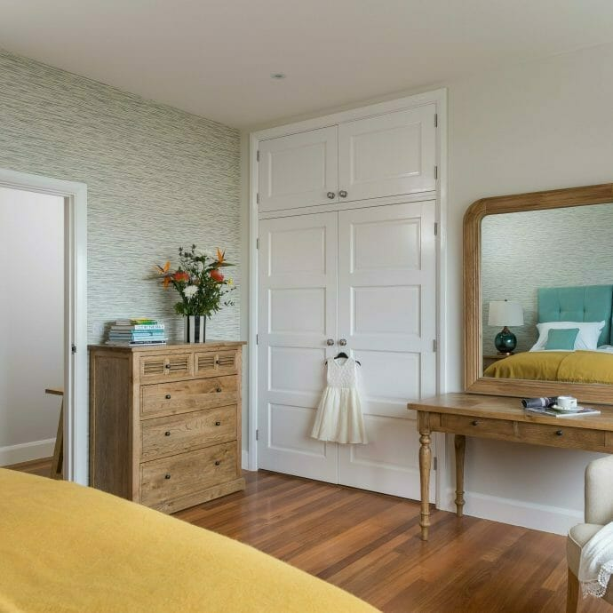 Fresh Turquoise and yellow bedroom in St Ives