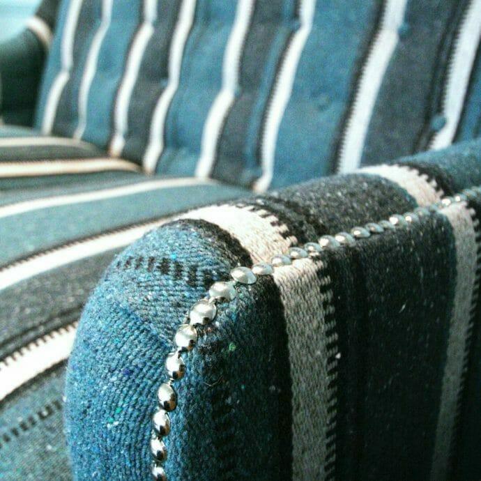 Kirkby Stripe Fabric Bespoke Buttoned Sofa