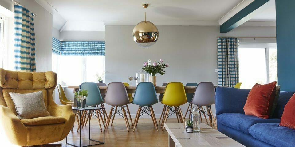 Hops and Camellias Beach House Dining Room Pastel Eiffel Chairs