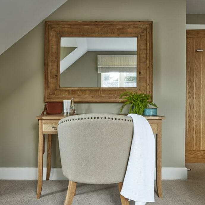 Little Greene Fescue Paint Colour with Hops and Camellias Oak Furniture