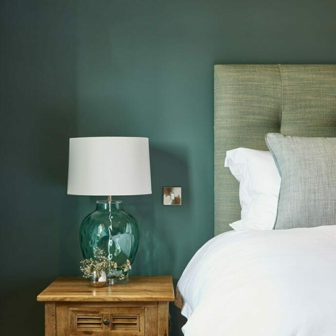Beach House Refurbishment Cornwall Bedroom with Zoffany paint and headboard